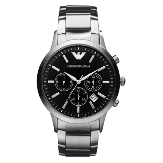This Men's Emporio Armani AR2434 watch has a stainless steel case and clear, classy looking black dial with silver baton hour markers and other elegant silver touches https://www.tic2toc.com/products/emporio-armani-mens-watch-ar2434?utm_medium=cpc&utm_source=googlepla&variant=14638453194822&gclid=EAIaIQobChMI1c7Lp7_53QIV77DtCh21fgrxEAQYASABEgJ7avD_BwE