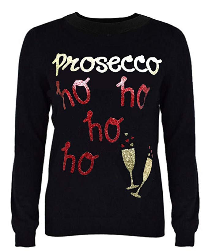 This prosecco themed women's jumper is for the one who like a little tipple or two at Christmas and you can gift it for just £13.80