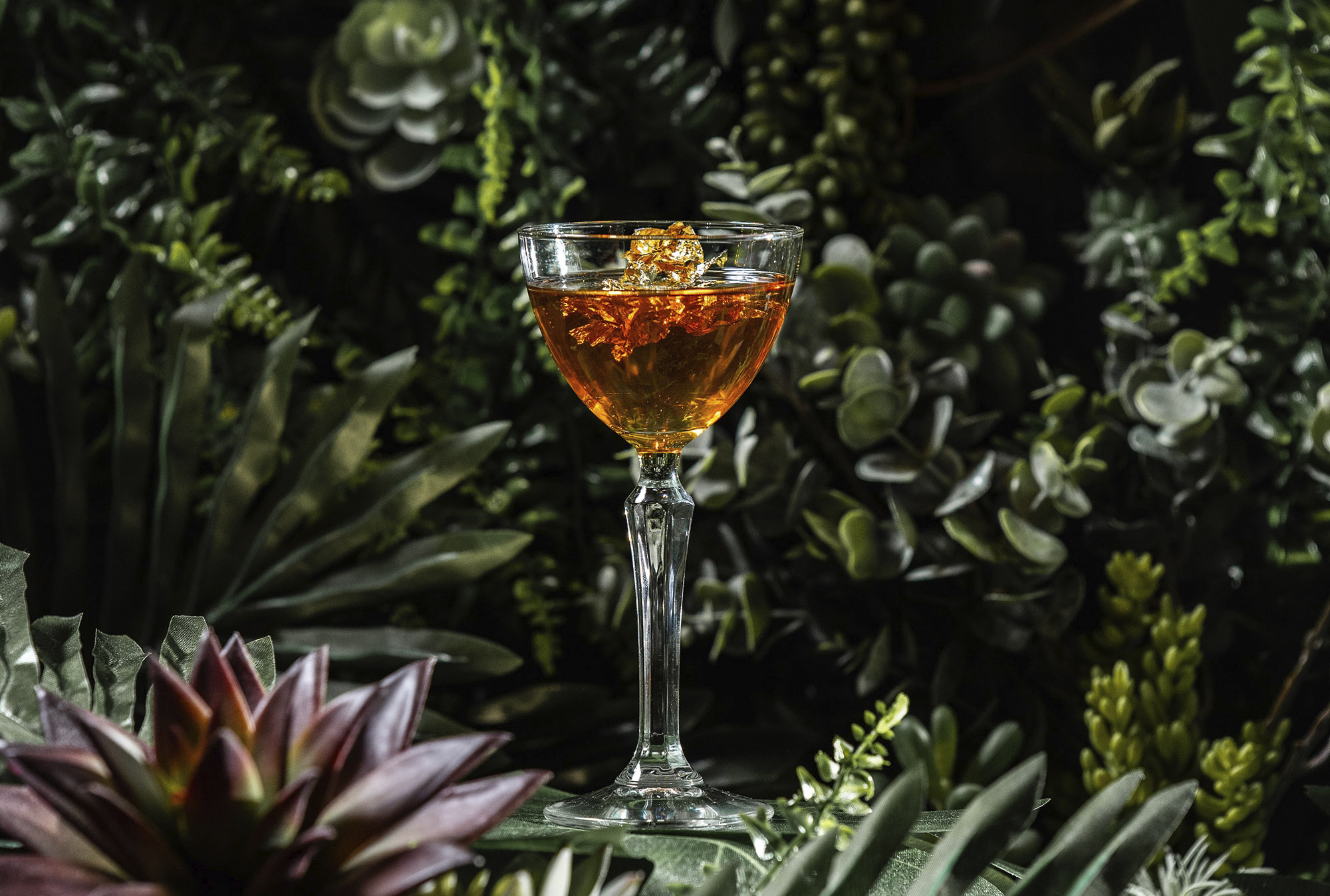 Liquid Gold - £15 Monkey Shoulder Whisky, Jägermeister Manifest, Martini Ambrato, Tio Pepe Sherry, Coffee Drops and Lemon Bitters garnished with Gold Leaf Flakes