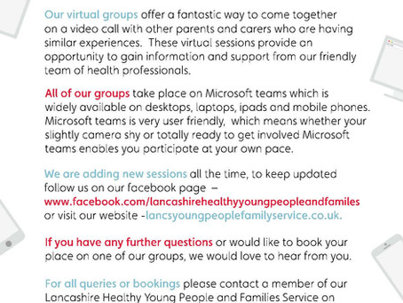 Virgincare offer virtual group sessions to parents/carers