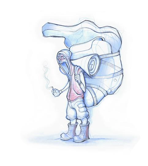 Homeless man design sketch