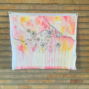 floral + pinks painting