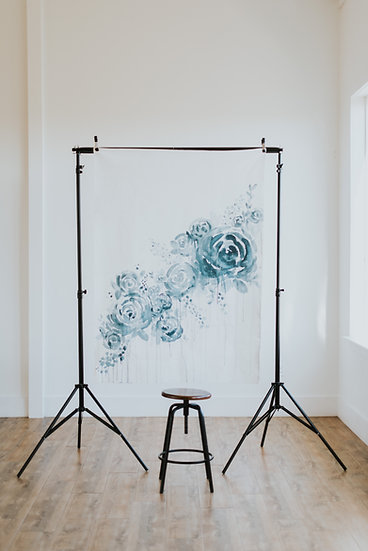 4x5 Custom Blue Floral Canvas Backdrop Custom Order