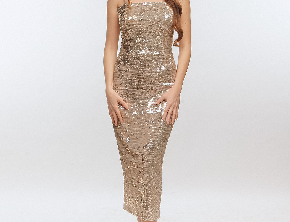 gold elegant dress from LORA