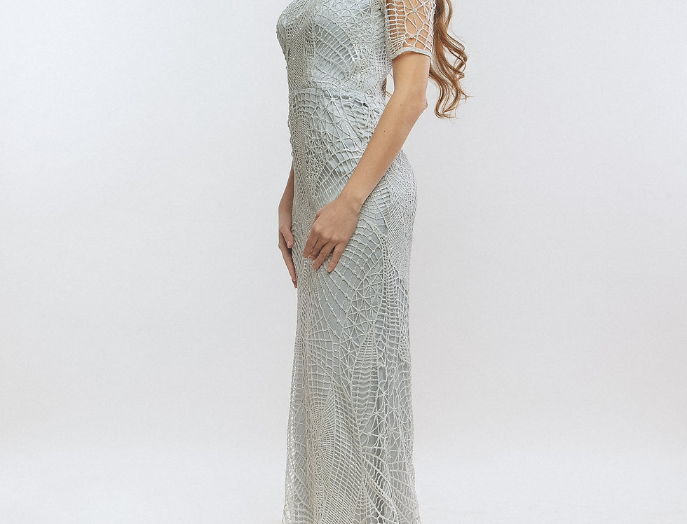 Light blue fitted silhouette long dress