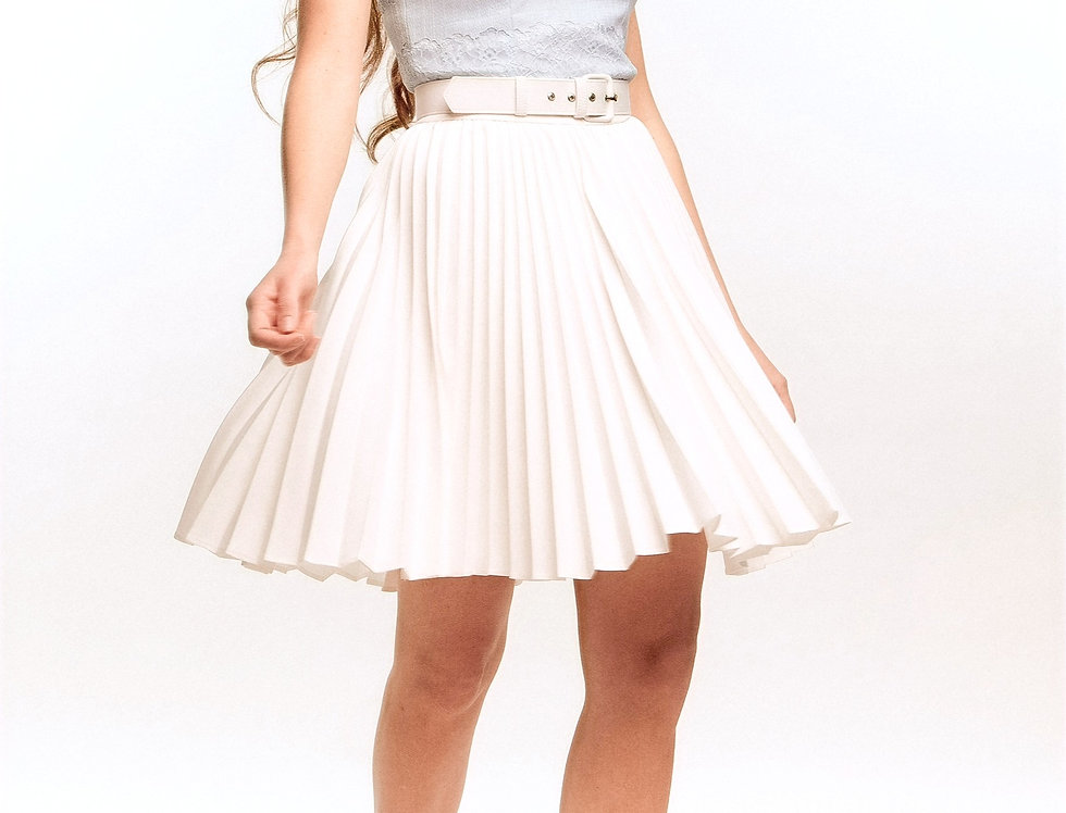 Pleated Mini Skirt with top