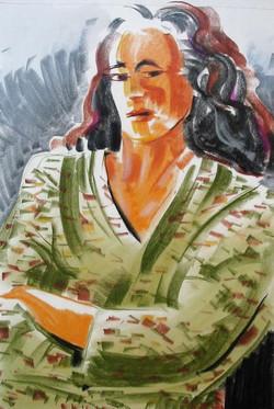 Femme au peignoir
