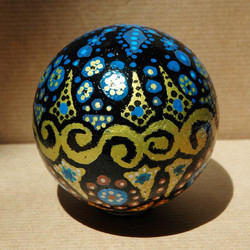 Boule de noël fleur bleue