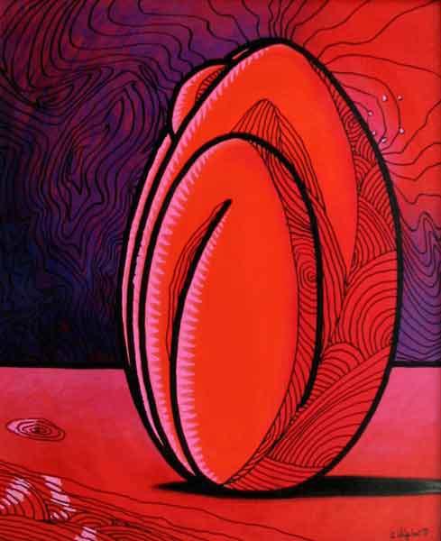 Femme-coco rouge au trait