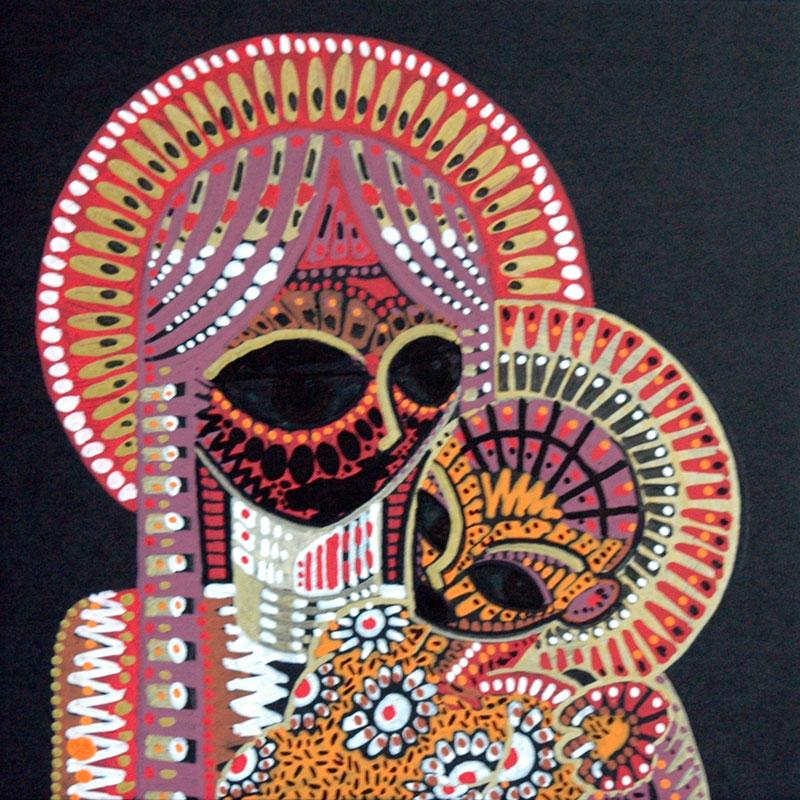 Vierge à l'enfant aux yeux noirs