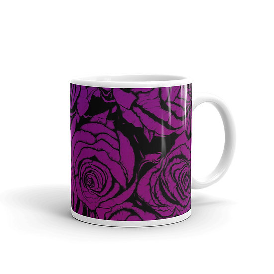 Dark Dusty Roses / Glossy Ceramic Mug