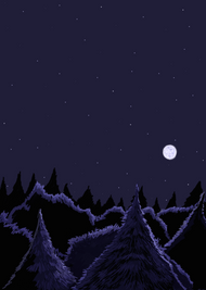 Blue Forest At Night