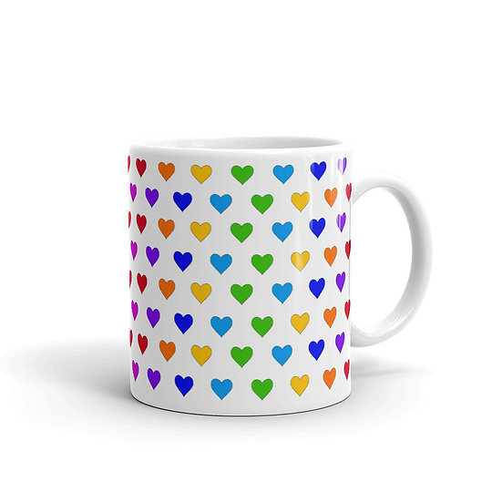 Rainbow Hearts / Glossy Ceramic Mug