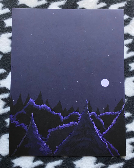 Blue Forest At Night Print