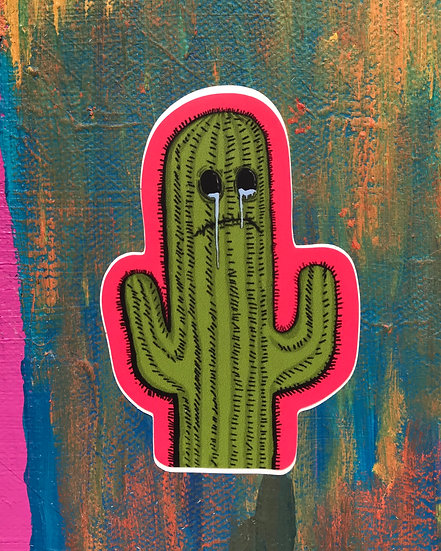 Crying Cactus Sticker