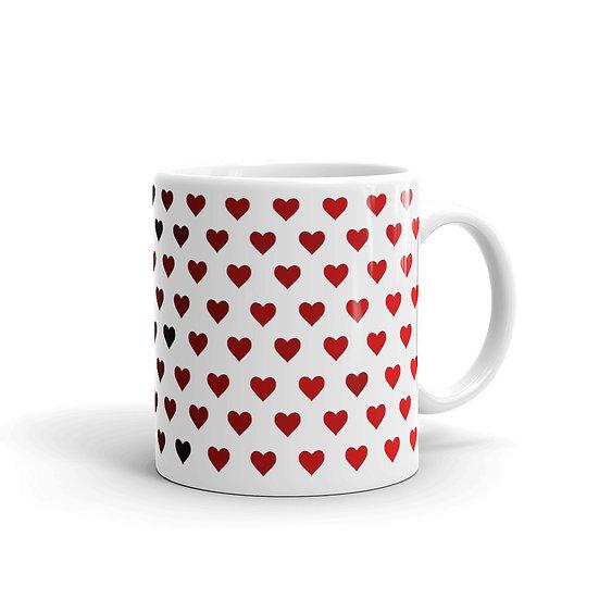Red Ombré Hearts / Glossy Ceramic Mug