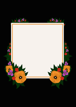 Flower Frame: Orange Violet