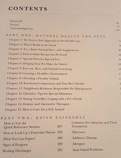 Dr. Pitcairn's Complete Guide to Natural Health for Dogs & Cats Table of Contents