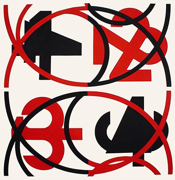 """Uno a cuatro x 2"" Gouache sobre papel 116 x 111.5 cm (papel) 111.9 x 109.2 cm (imagen) Firmada: DL.28.03.05"