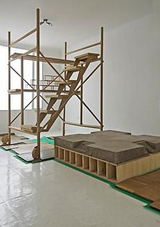"""""""Abrazar el vacío"""" Cartón, madera y  concreto Medidas variable 2017 pieza única"""