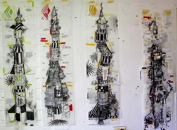 """Third World Rockets"" tinta y collage sobre papel 104 x 104 cm 2016."
