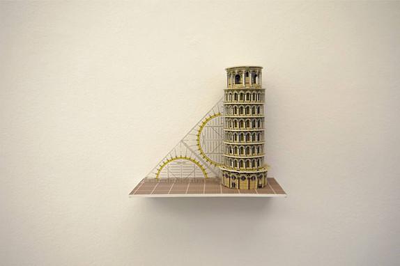 """Torre Restaurada"" Cartón y escuadra de plástico 35 x 20 x 15 cms 2016 edición de 3"