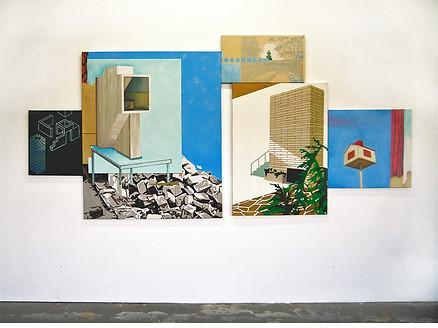 """""""La Construcción"""" Oleo sobre tela 300 x 150 cms 2017 pieza única"""
