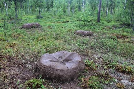 """""""Habitat"""" Arcilla, tierra, ramas, hojas 3 piezas de 1,2 mt de diámetro x 60 cms de altura Oranki International Symposium, Finlandia 2013"""