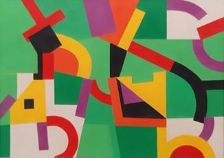 """""""Vert"""" Gouache sobre papel 19 x 26.5 cms Pieza única Firmada DL 11.09.19"""