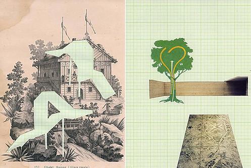 ¨Arquitectura de consumo¨ collage sobre papel 25 x 30 cms piezas unicas 2014