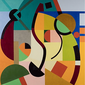 """Dos Espirales - Acuática"" Óleo sobre lino 150 x 150 cms Pieza única (Firma al dorso) DL 30.12.19"