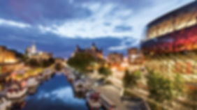 Pictured is Ottawa's down town core, featuring the National Art Centre, the Parliament, the Fairmont Chateau Laurier, the Shaw Centre and the Ottawa Art Gallery all surrounding the canal