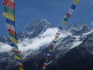 Mt. Everest and peace flags