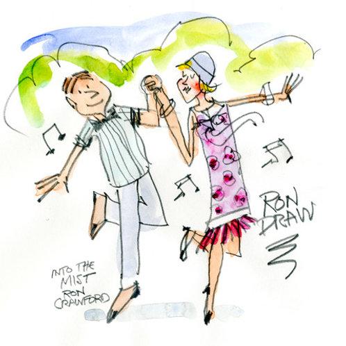 ORIGINAL Ron Crawford Watercolor: Dancers in the Park