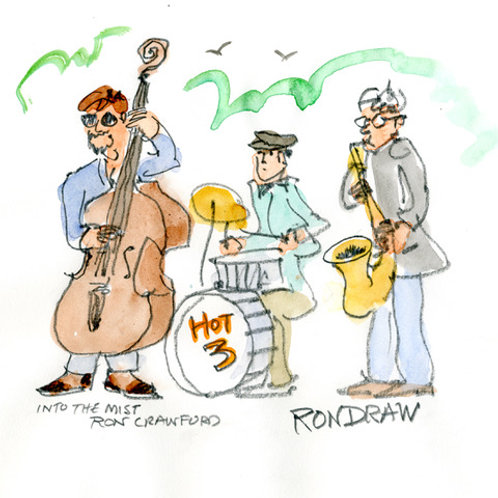 ORIGINAL Ron Crawford Watercolor: Band in the Park