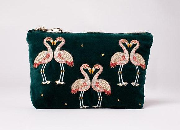 Velvet Make Up Bag (Flamingos)
