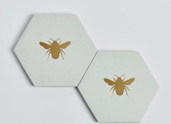 Gold Bee Jesmonite Coaster Set