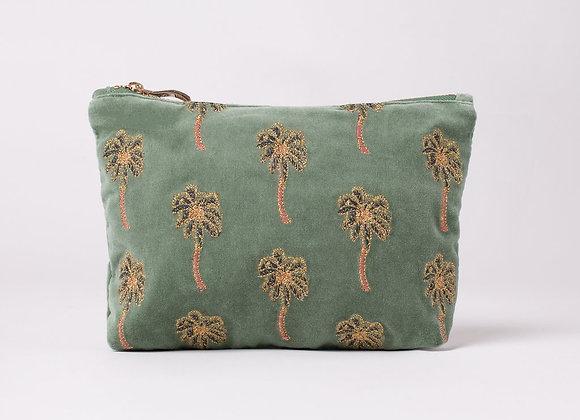 Velvet Make Up Bag (Khaki Palm)