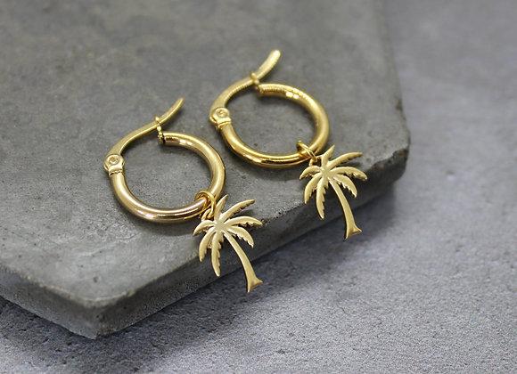 Palm Tree Hoop Earrings