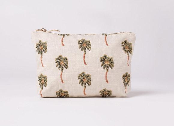 Cotton Canvas Make Up Bag (Cream Palms)