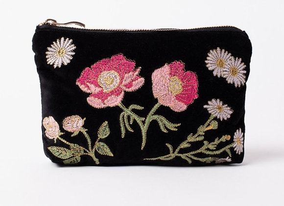 Velvet Make Up Bag (British Blooms)