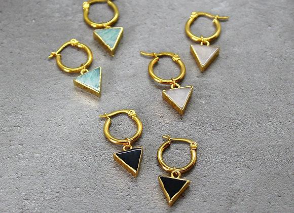Stone Triangle Hoop Earrings