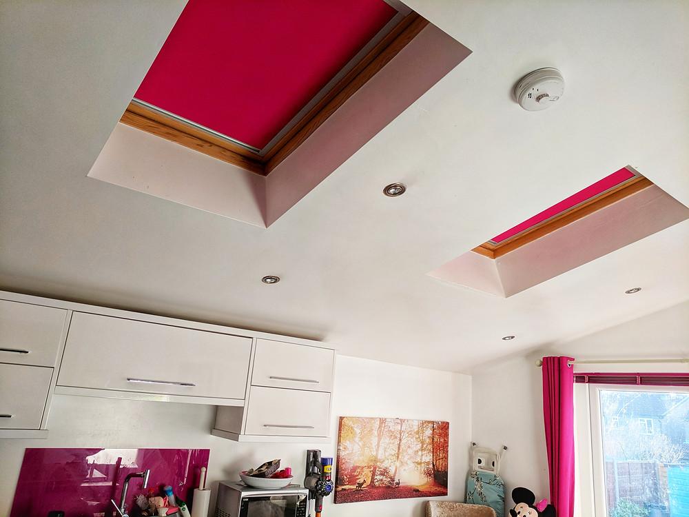 Skylight Blackout Roller Blinds in Pink