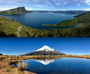 Lou's Lookout at Lake Waikaremoana and Mount Taranaki from the tarn on the Pouakai Loop track