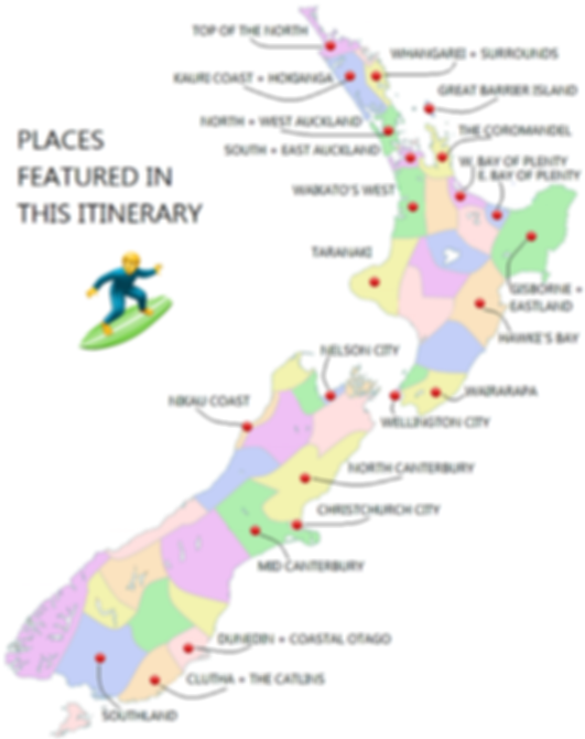 A map of New Zealand's best surf spots