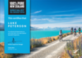 100% Pure New Zealand Specialist Certificate for Luk Peterson