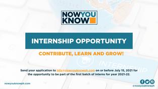 [INTERNSHIP] Now You Know opens internship opportunity