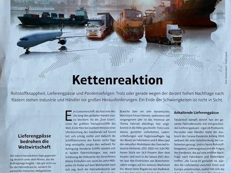 """""""Kettenreaktion"""" // Artikel über Lieferengpässe SAZbike 12.07.21"""