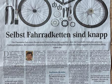 """""""Selbst Fahrradketten sind knapp"""" // Artikel über Lieferprobleme der Hersteller"""