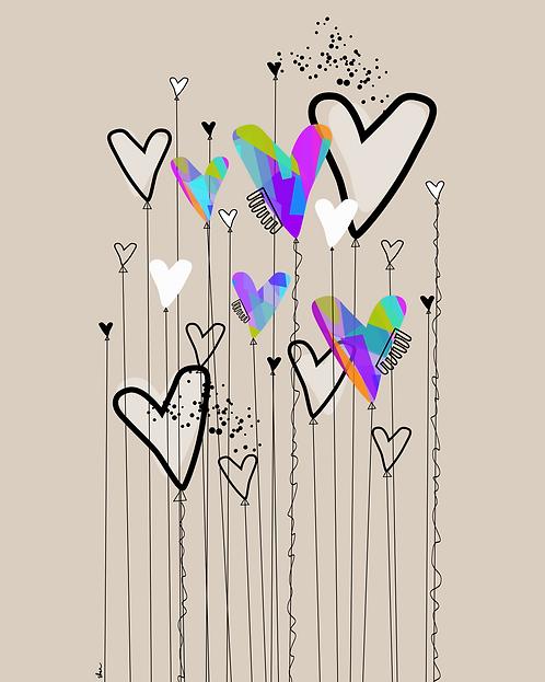 HEART BALLOONS - 8 x 10 Art Print
